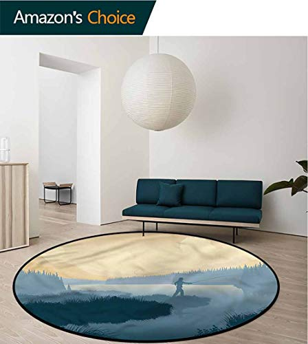 RUGSMAT Fishing Non Slip Round Rugs,Fisherman Woods Silhouette Perfect for Any Room, Floor Carpet Round-55
