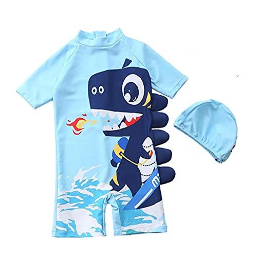 Baby Jongens Swimsuit Zipper badpak Swimwear met hoed Rash Guard Surfing Suit for Boys Blue S 2PCS