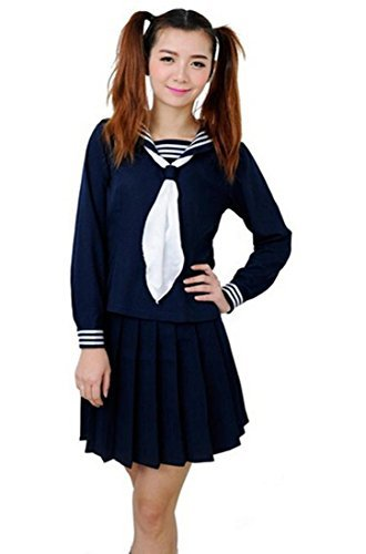 Womens 2pcs Sailor School Uniform Dress Japanese Anime Lolita Sailor Suit