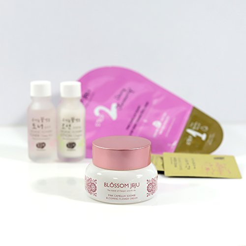 BLOSSOM JEJU Pink Camellia Soombi Blooming Flower Cream 50ml/1.7 fl.oz. with 2 Step Dewy Firming Petal Mask (1 Sheet), Whamisa Deep Rich Mini & Double Rich Mini & Eye Essence Samples Review