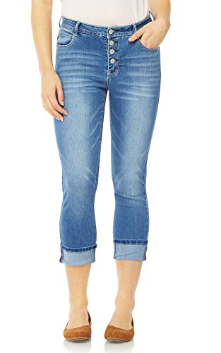 WallFlower Juniors Sky High Rise Exposed Button Skinny Crop Jeans in Paola, 1