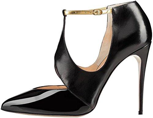 Calaier Mujer Caair Tacón De Aguja 10CM Sintético Hebilla Sandalias de vestir Zapatos Negro