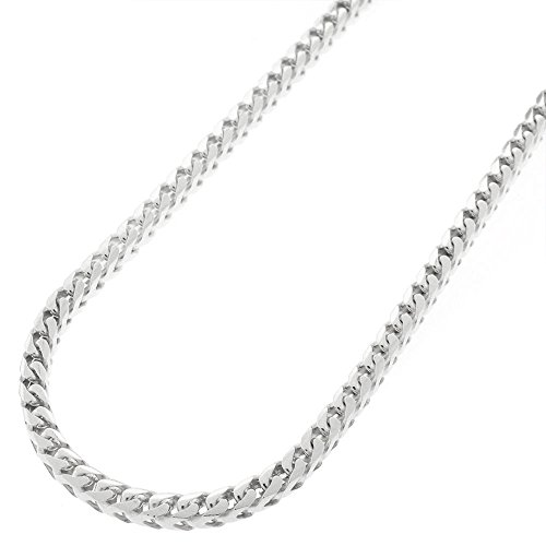 Sterling Silver Italian 3mm Solid Franco Square Box Link 925 Rhodium Necklace Chain 16