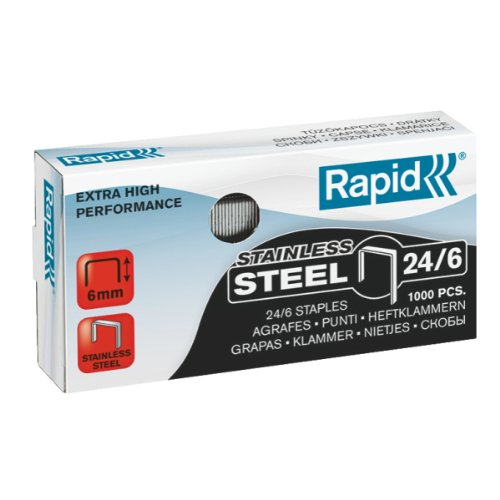 Leitz Rapid 24858100 Staples 24/6 mm Super Strong Rust-Proof Pack of 1000