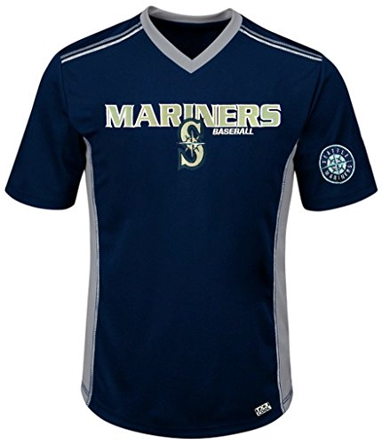 VF Seattle Mariners MLB Mens Cool Base Performance V Neck Jersey Navy Blue Big Sizes (4XL)