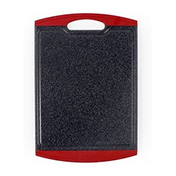 """Neoflam Marble Cutting Board with Non-Slip Grip and Microban Antimicrobial Protection, 17.5"""" x 12"""", Black Marble/Dark Red"""