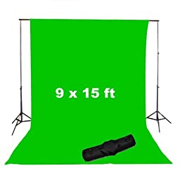 CowboyStudio Photography 9 x 15ft Chromakey Green Muslin Screen and 10 ft Background Support System with Carrying Case