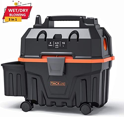 TACKLIFE Wet and Dry Vacuum,120V 4Gal 16.4ft Wire 5ft Hose