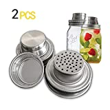2 Pack Mason Jar Shaker Lids,with Silicone Seals for Regular Mouth Mason,Canning Jars, Durable, Rust Proof Stainless Steel,Dry Rub - Cocktail,Mix Spices, Dredge Flour, Sugar & More