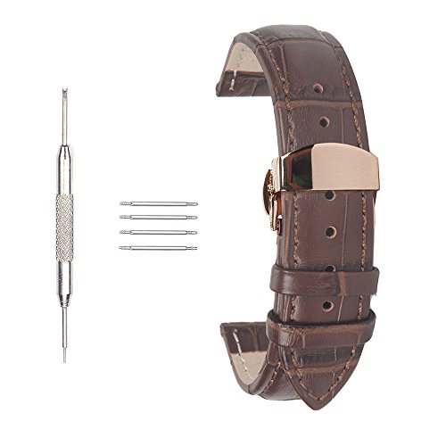 Ac Union ACUNION 20mm Watch Clasp Band with Butterfly Deployant Buckle Leather Watch Strap for Men Women Brown