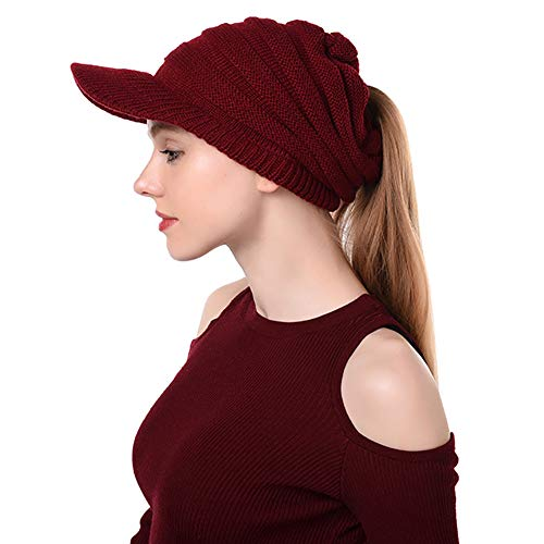 Peicees Warm Soft Brimmed Beanie Hat Winter Chunky Cable Knit Cap High Ponytail Hats for Girls Women(Wine Red)
