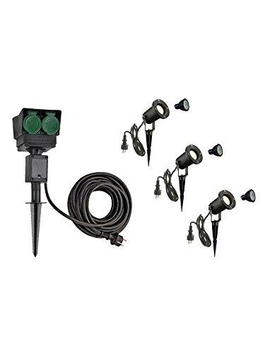 XL-Version SLV LED Strahler NAUTILUS XL 3er Set mit Erdspieß, 4-fach IP44 Gartensteckdose 10m, 3x GU10 Leuchtmittel, Aussen-Leuchte, Außen-Strahler