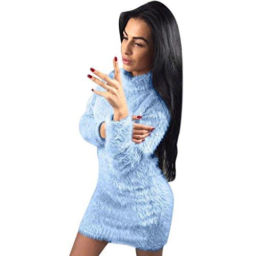 HOT SALE, AIMTOPPY Women Fold Over Collar Long Sleeve Winter Sweater Bodycon Warp Mini Dresses (XL, Blue) (Over Tab Fold)