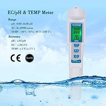 RCYAGO 3 en 1 - Medidor de Calidad del Agua PH PH PH PH Pen EC - Medidor de Temperatura - Medidor de Calidad de Agua de Bebida (EG/PH/Temp)