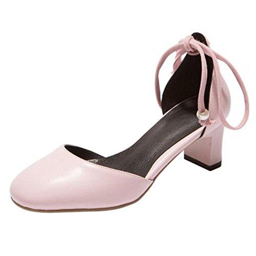 Donna con Scarpe TAOFFEN Tacco Stringate Pink 0xgqwdq