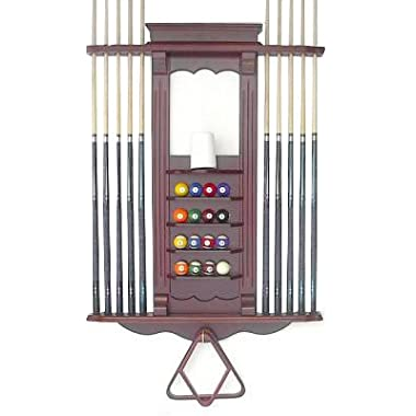 Cue Rack Only- 10 Pool - Billiard Stick & Ball Wall Rack Choose Oak or Mahogany Finish Made of Wood (Mahogany)