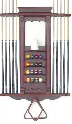 Cue Rack Only- 10 Pool - Billiard Stick & Ball Wall Rack Choose Oak or Mahogany Finish Made of Wood (Mahogany) (Billiard Cue Rack compare prices)