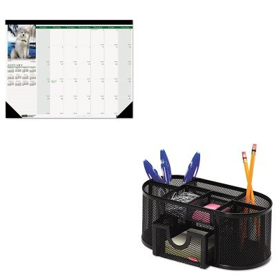 KITHOD199ROL1746466 - Value Kit - House Of Doolittle Puppies Photographic Monthly Desk Pad Calendar (HOD199) and Rolodex Mesh Pencil Cup Organizer (ROL1746466)