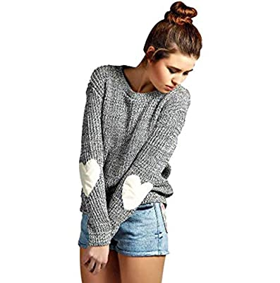 Koitmy Women's Patchwork Casual Loose Thin Cute Heart Pattern Long Sleeve Knits Sweater Pullover