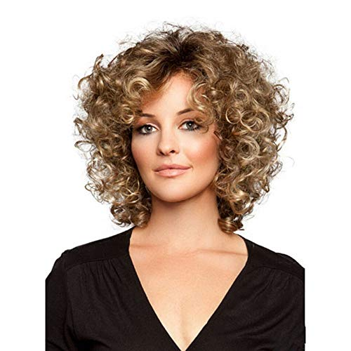 Beauty : US Womens Fashion Brown Short Curly Full Wigs With Black Root Cosplay Party Hair
