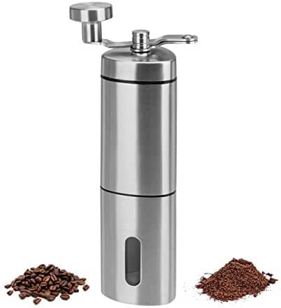 WENFENG Manual Coffee Grinder, Adjustable Ceramic Conical Burr Grinders for Precision Brewing, Stainless Steel Coffee Grinder for Home & Traveling