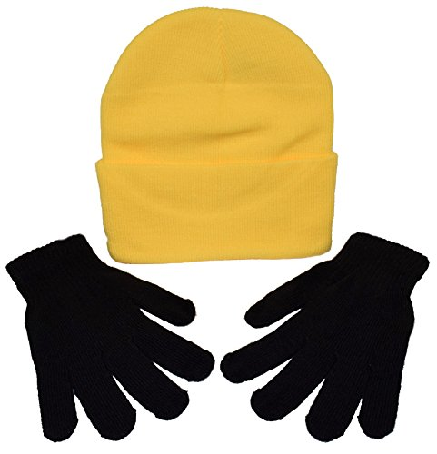 (Youth - Adult Minion Costume Kit / 1 Minion Yellow Beanie & 1 Pair Black Gloves)