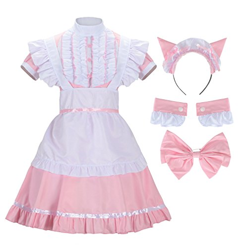 Maid Dress Costume (Sheface Women's French Maid Lolita Dress with Cat Ear Costume (X-Large,)
