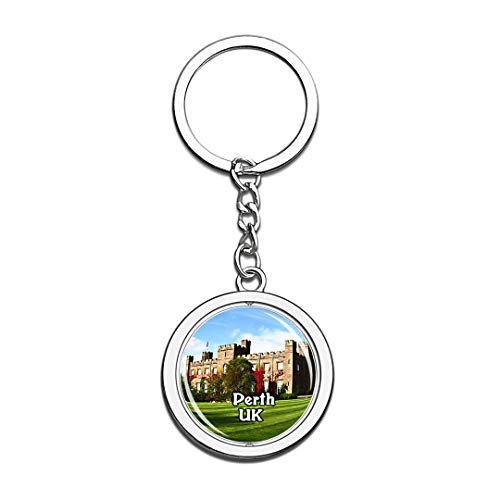 Perth Scone Palace UK England Keychain 3D Crystal Creative Spinning Round Stainless Steel Keychain Travel City Souvenir Collection Key Chain Ring]()