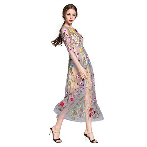 d715a70e5f7 DEZZAL Women s Floral Embroidered Tulle Prom Maxi Dress with Cami ...