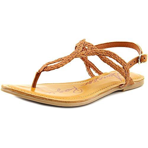 Americana Rag Mujeres Keira Open Toe Casual T-strap Sandalias Cognac