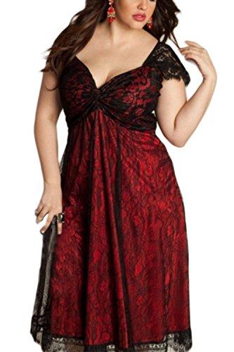 Vemubapis Women's Elegant Gothic Deep V-Neck Plus Size