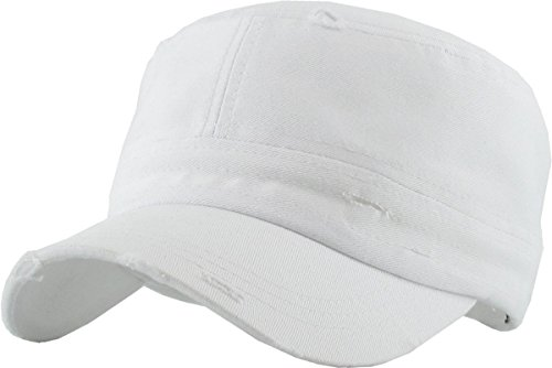 H-217-D09 Distressed Womens Mens Vintage Military Style Army Cadet Hat - White - Army Twill