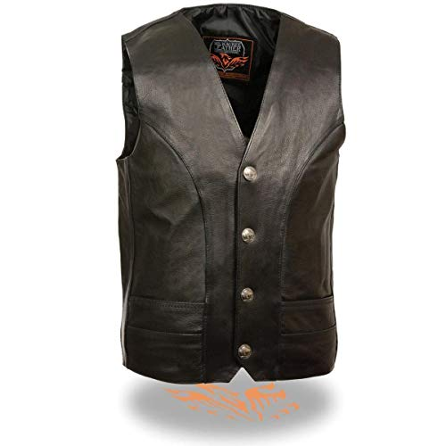 (Milwaukee Leather ML1368 Men's Classic Black Leather Vest with Buffalo Nickel Snaps - Black / 44-44)