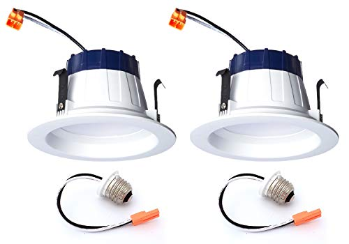 (Pack of 2) Sylvania 74286 - LED/RT4/600/930/FL80-, 4 Inch LED Recessed Can Retrofit Kit, 600 Lumens, 9 Watts, 120 Volts, 3000k, 90 CRI, Dimmable, Includes Medium Base Adapter ()