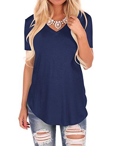 WFTBDREAM Women Solid Comfy Short Sleeve V Neck Lightweight t Shirt Tee Tops Navy Blue l