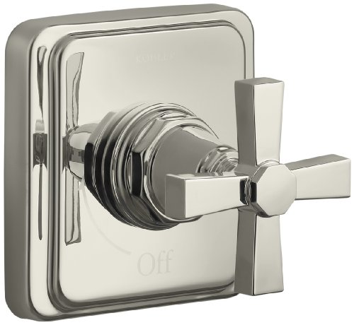(KOHLER K-T13174-3A-SN Pinstripe Pure Volume Control Trim, Cross Handle, Valve Not Included, Vibrant Polished Nickel)