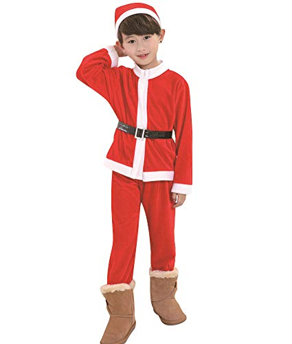 OVOV Unisex Baby Christmas Costume Red Santa Suit Cosplay for Kids Children Gift (Large) ()