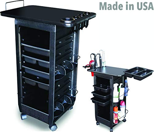 C113-LTH B Salon Rollabout Trolley Cart Black Non Lockable & Laminated top w/Tool Holder Made in USAby Dina Meri