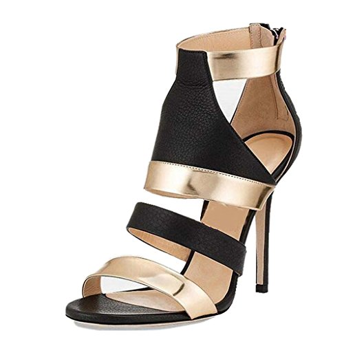 Summer Toed Heeled gao Heels With Height With Dress Fine Zipper Shoes Girl's Open High Black Heel High Sandals Women's 12CM vxIv1qwz