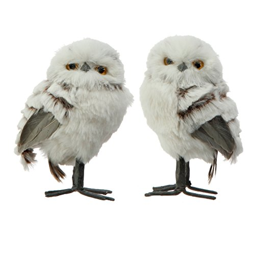 Set of 2 Assorted RAZ Imports Furry White Owl Figurines - 5