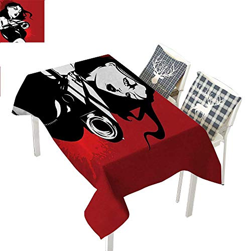 (WilliamsDecor Girls Cloth tablecloths Strong Iconic Warrior Lady Character Holding a Gun Female Detective Weapon Image PrintBlack Red Rectangle Tablecloth W60 xL120)