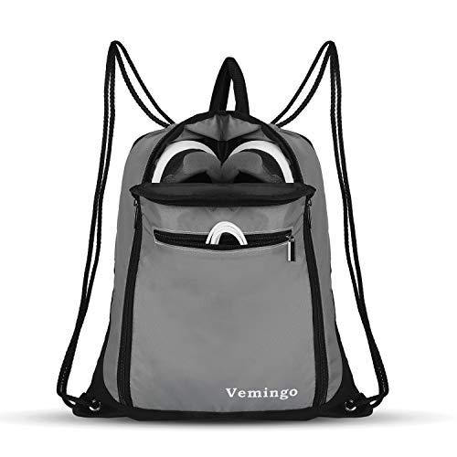 Vemingo Drawstring Bag Backpack with Shoe Compartment Gym Sport String Bag Sack Cinch Bag Men Women
