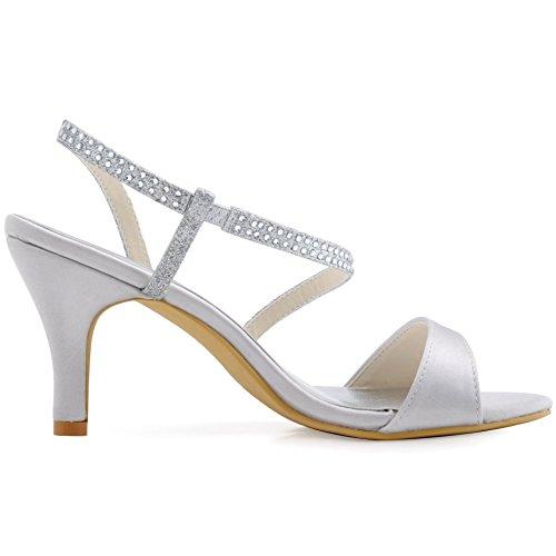 ElegantPark HP1531 Mujer Tacón De Aguja Sandaliasias Rhinestone Resplandecer Satén Zapatos De Boda Plateado