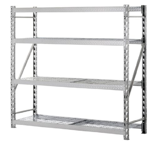 Sandusky Lee TP722472W4 Steel Tread Plate Welded Rack, 4 Adjustable Shelves, 2000 lb. Per Shelf Capacity, 72