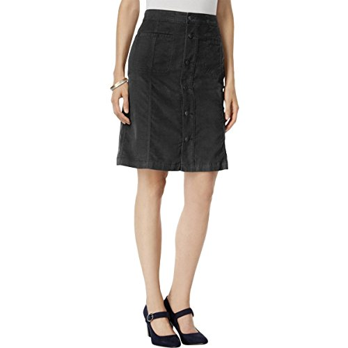 Style & Co. Womens Button-Front Corduroy A-Line Skirt Black 16