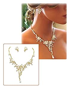 Pearl Crystal Branch Flower and Vine Necklace Set Fashion Jewelry Boxed (#159) (gold-plated-base)