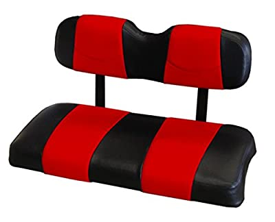 Kool Cushions CCDS2UP-BKDDRDST-01 -Custom Vinyl Golf Cart Seat Covers Front Only-Black With Dare Devil Red Stripe - For Club Car DS 2000 and Up Golf Cart