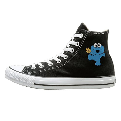 Black Cookie Monster Canvas Shoes For Men Women High Top ...