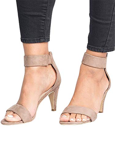 Festnight Women's Stiletto Open Toe Low Heel Zipper Closure Sandal Ankle Strap High Heels Sandals Working Bridal Party Shoes Khaki