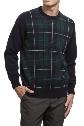 (Great & British Knitwear Men's HM106 100% Lambswool Clan Douglas Tartan Crew Neck Sweater. Made in Scotland-Clan Douglas-Medium)